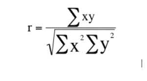 The Pearson correlation coefficient formula